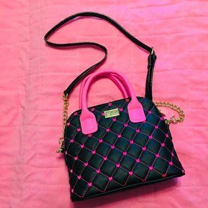 Betsey Johnson Black & Pink Heart Quilted Purse